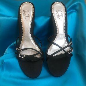 Strappy black kitten heeled sandals